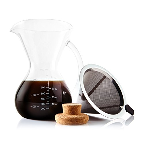 Apace Living Pour Over Coffee Maker Set w/Coffee Scoop and Cork Lid – Elegant Coffee Dripper Pot w/Glass Carafe & Permanent Stainless Steel Filter (800 ml / 27 oz)