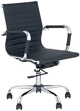 Mid-Back Leather adjustable Rotating Office Chair Computer Rooms Black