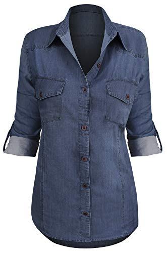 Women's Button Down Roll up Sleeve Classic Denim Shirt Tops