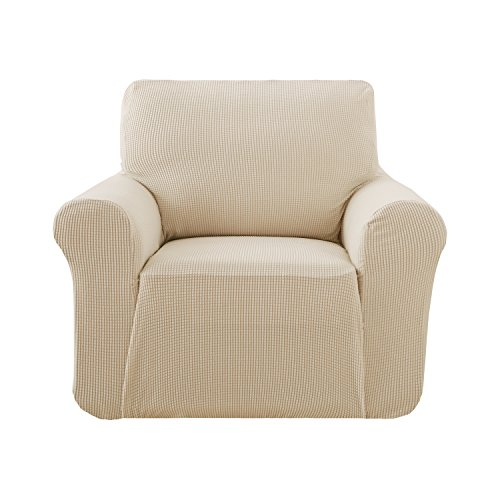 - Deconovo Beige Armchair-Slipcovers Couch Cover Fitted Spandex Armchair Protector Slip Resistant Armchair Cover High Elasticity Anti-Wrinkle Solid Print Couch Slipcover