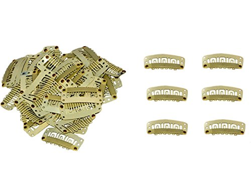 Geoot Snap Clips 50pcs U-shape Metal Clips for Hair Extensions DIY (Beige) (Hair Clips Blonde Extension)