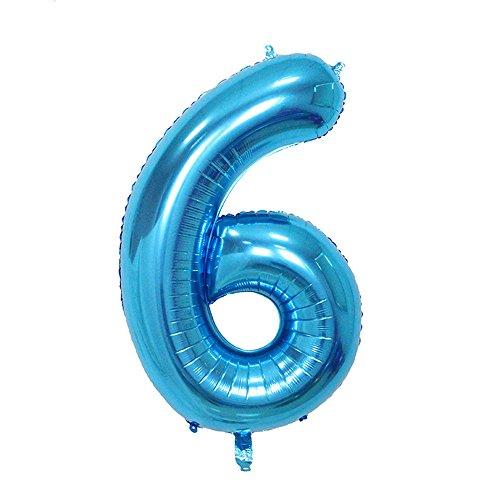 Ruimeier Number 6 Balloon ( 40 INCH ) Blue Digital Party Balloons Aluminum Mylar Balloon for Birthday Decorations Wedding Anniversary Baby Bridal Shower BA06BL (Auto Inflate Digital)