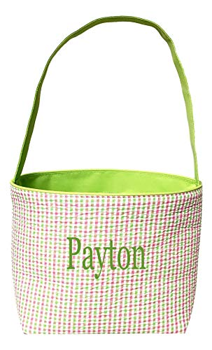 (Pastel Checkered Seersucker Fabric Basket Bucket Tote Bag - Custom Embroidered Personalization Available (Green Gingham Check with Embroidered)