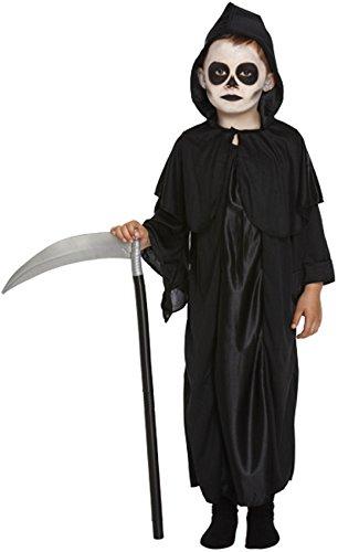 Grim Reaper Costume Boys Scary Halloween Death Robe Hood Fancy Dress Age 7-9