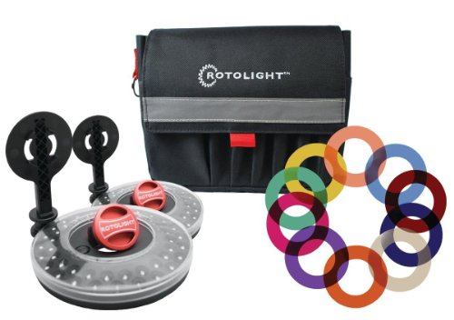Rotolight Interview Lighting Kit with 2 HD LED Stealth Ringlights, 2 Stands Color Filters Also Includes Belt Pouch