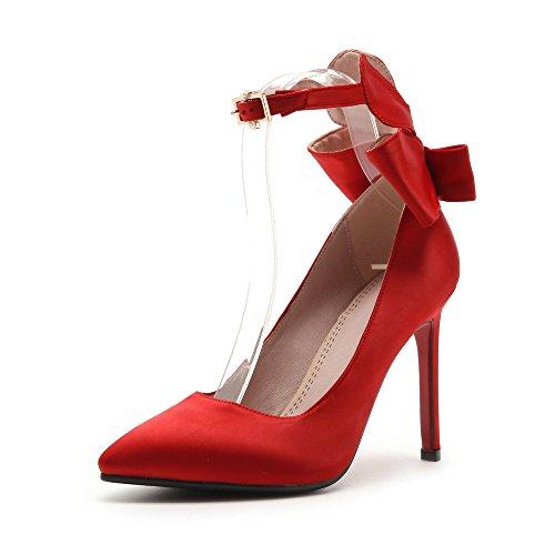 Donne A Della Punta Da Chiuso Punta Le Caviglia Stiletti Sposa Rosso Tallone Alla Per Cinturino Scarpe Pompe nzTXqPP