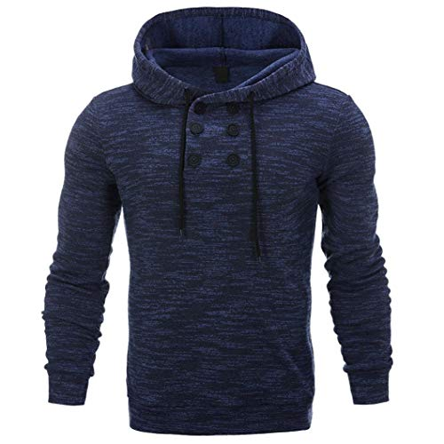 Sunhusing Men's Personality Casual Button Down Sweatshirt Loose Hooded Lace-up Sweater ()