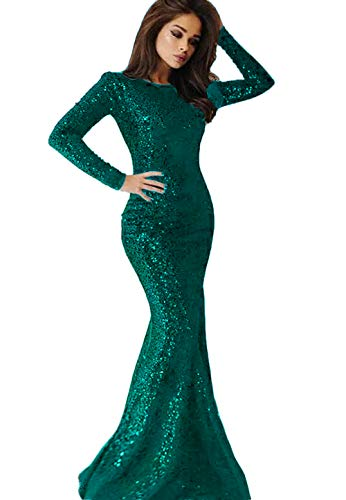 (2019 Long Sleeves Sequins Mermaid Prom Dresses Crew Neck Sweep Train Formal Party Evening Gowns Teal)