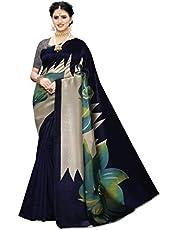 زي ساري حريري اسود بطبعة فنية وتصميم مميز للارتداء في الاعياد الهندية للنساء من كرافتسترايب