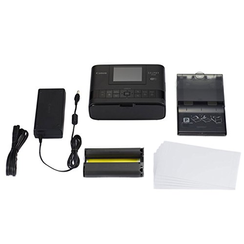 Canon SELPHY CP1300 Compact Photo Printer (Black) +Canon KP-108IN Color Ink and Paper Set +Photo4Less Cleaning Cloth - Deluxe Value Printer Bundle