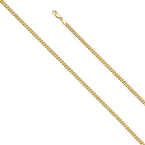 - Wellingsale 14k Yellow Gold 3.5mm Hollow Miami Cuban w/Lob lock Chain Necklace with Lobster Claw Clasp - 20