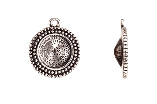 (Drop/ Pendant, Antique-silver Plated Beaded Round Frame Rivoli Setting 25.5x22mm Fits 16mm Rivoli and Shallow Pavilion Crystals)