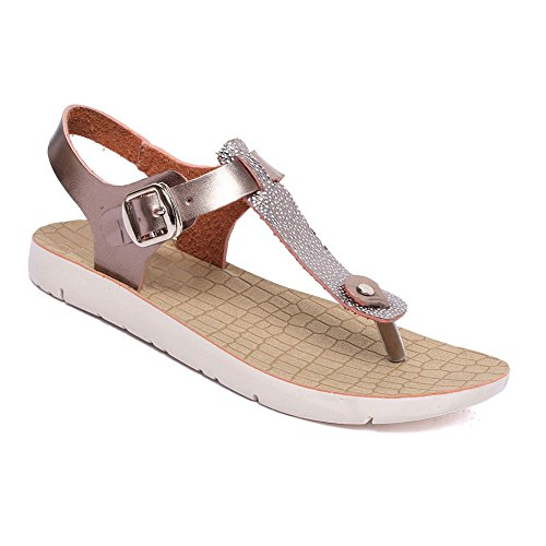 Wedge Sandals Heel Leather Thongs (TravelNut Clearance Sale Rose Gold Faux Leather Low Wedge Flat Heel Sandaru Tstrap with Buckle Women Thong Sandal Shoe Slipper Under 20 Dollars for Teen Girl Ladies (Size11 Rose Gold))