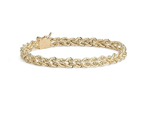 MCS Jewelry 14 Karat Solid Yellow Gold Two Row Rope Chain Bracelet 3.0 mm (Length: 7
