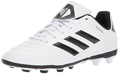 (adidas  Boys' Copa 18.4 Fxg J, White/Core Black/Tactile Gold, 5 M US Big Kid)