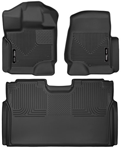 Husky Liners 53361-53491 - X-Act Contour - First and Second Rows (Full Coverage Under Second Row Seat) All Weather Custom Fit Floor Liners for 2017 Ford F-250/F-350 Super Duty Crew Cab - (Black Second Seat Floor Liners)