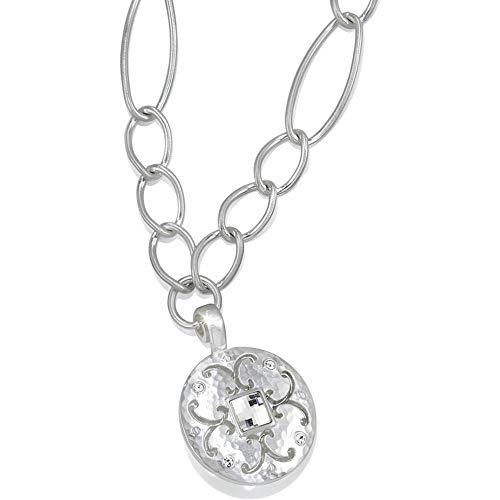 Versailles Brighton Saturn Hammered Matte Silver & Crystal Large Chain Reversible Necklace (Saturn Silver Matte)
