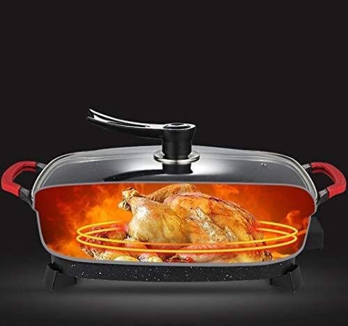 AZHom Barbecue électrique multi-fonction cuiseur électrique coréen Hot Pot électrique Grill électrique sans fumée antiadhésif 1500W