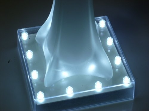 "Light Plate 5"" Square-16 LED Light battery powered pedestal base-Eiffel Tower"