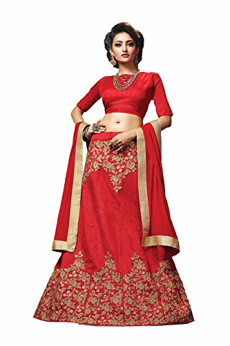 PCC Womens Silk Fabric Red Striking Circular Lehenga Style 84056