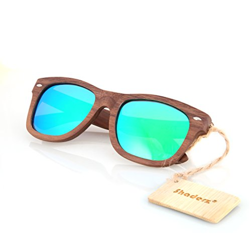 Walnut Wood Wooden Sunglasses by Shaderz - Vintage Retro Classic 100% Natural Eco Friendly Handcrafted Lightweight Frames - Reflective Mirror - Wooden Sunglasses Proof
