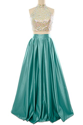 Prom Piece Neck MACloth Evening Ball Long Two Dress Gown Women High Turquoise Homecoming nqHqrYwIEU