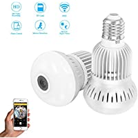 eoqo Wireless Panormaic Light Bulb IP Camera, 960P LED Bulb Home Security Spy System Network Webcam with Night Vision and Motion Detection