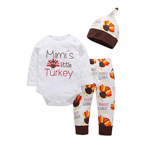 Sagton Baby Thanksgiving Outfits Mimi's Little Turkey Kids Baby Girl Boy Clothes Set T Shirt Top+Pants+Hat 0-24M -