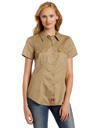Dickies Women's Plus Size Short-Sleeve Work Shirt, Khaki, 2X-Large