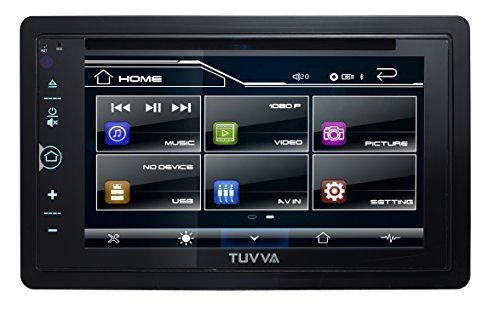 "TUVVA KSD6280 2-DIN Car Stereo with MHL Mobile Connectivity 6.2"" Full Glass Capacitive Touchscreen DVD/CD/USB/MP4/MP3 Player, RDS Radio Bluetooth, Wireless Remote"
