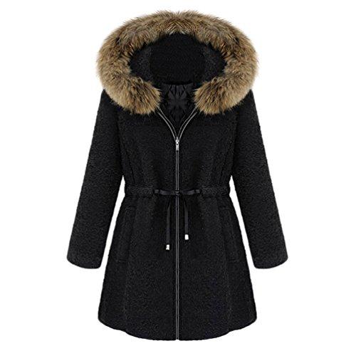 Jacket Con Manga Larga Mujer Moda Espesar Negro Coat Capucha Wanyang Abrigo Damas wzIS7