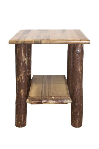 Pine Traditional End Table - Montana Woodworks MWGCNS Glacier Country Collection Nightstand/End Table with Shelf