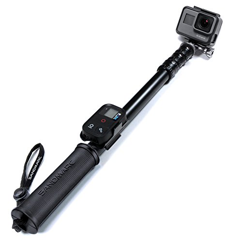 SANDMARC Pole – Metal Edition: 15-50″ Professional All-Aluminum Waterproof Extension Pole / Stick / Monopod for GoPro Hero 5 Black / Session, Hero 4 / Session, 3+, 3, 2, and HD Cameras