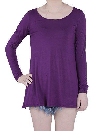 FAVELEM Women's Long Sleeve Loose Fit Short Tunic Top T Shirts(XXL,Purple) 906-5 Purple Loose Fit Shorts