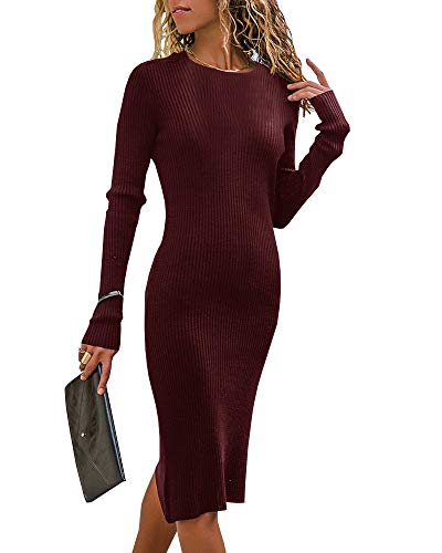 Chuanqi Womens Sweater Dresses Bodycon Ribbed Knit Long Sleeve Side Fit Crewneck Work Pencil Midi Dress