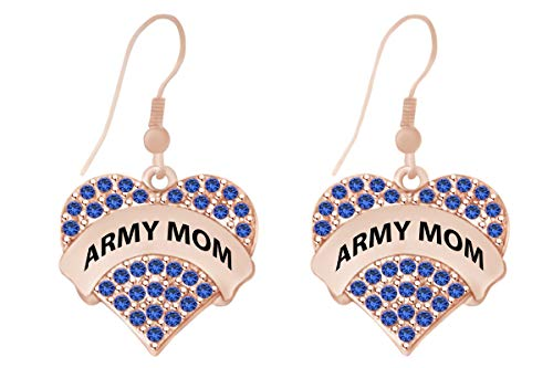 Mothers Day Jewelry Gifts Round Shape Simulated Blue Sapphire Army Mom Heart Dangle Earrings In 14k Rose Gold Over Sterling ()