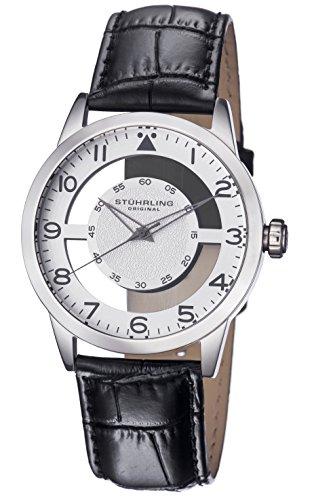 Stuhrling Original Men's 650.01 Aviator Quartz Transparent Dial Black Leather Strap Watch