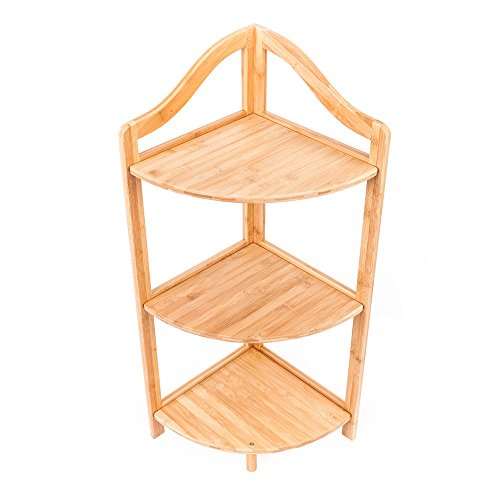 3 Tier Shelf Bamboo Corner Tower Rack Bathroom Storage Space Saver Bookcase from unbrand