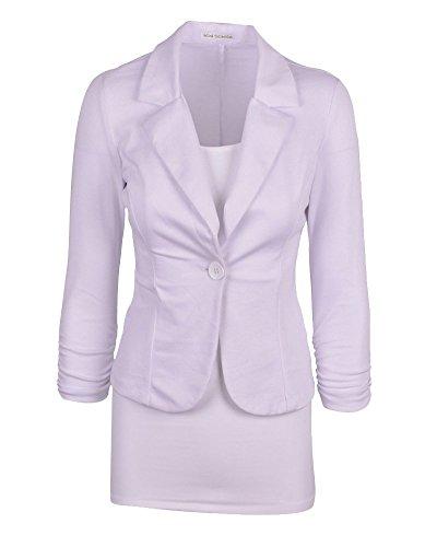 Del Vestito Giacca Monopetto Moollyfox Sportiva Da Cappotto Bianco Donna I7S5q