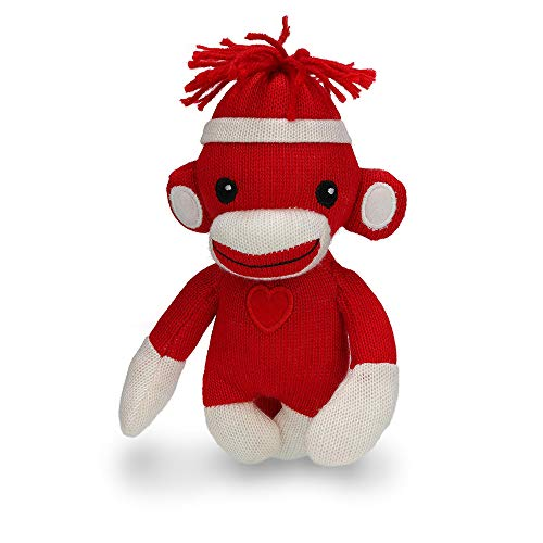 Plushland Sock Monkey Baby Doll, 6 Inches Puppet Comes with White Line Hat and Heart Logo in Front, Best Gift for Kids Expressing in Color of Love (Red (I Love You))