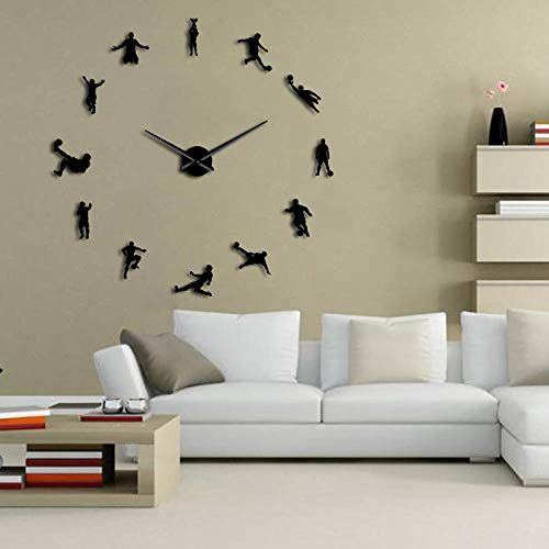 The Geeky Days Football Players Contemporary DIY Oversized Wall Clock Soccer Game Large Clock Watch Kids Football Fans Living Room Wall Decor(Black) by The Geeky Days