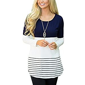 KUREAS Women's Color Block Striped Rround neck Patchwork Long Sleeve T-shirts Blouses Tunic Tops