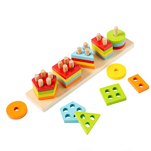 4 Shapes Early Childhood Development Puzzle Toys for 1 2 3 Year Old Boys Girls WOOD CITY Wooden Sorting /& Stacking Toys for Toddlers Educational Shape Color Recognition Puzzle Stacker