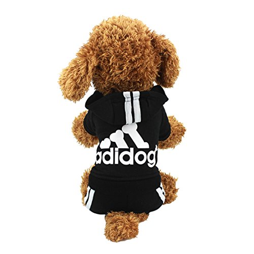 Idepet(TM Adidog Pet Dog Cat Clothes 4 Legs Cotton Puppy Hoodies Coat Sweater Costumes Dog Jacket (M, Black)