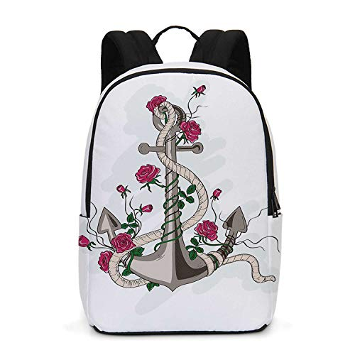 Rose Durable Backpack,Hand Drawn Illustration of Sea Anchor Entwined with Flowers and Marine Rope Decorative for School -