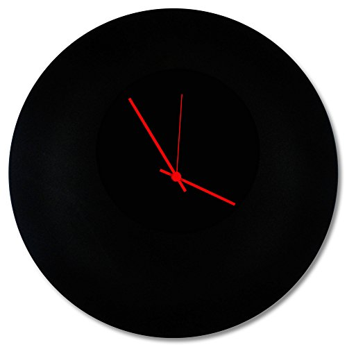 Minimalist Black Clock 'Blackout Red Circle Clock' Contemporary Metal Wall Clocks, Monochrome Modern Decor - 16in. Black w/Red Hands