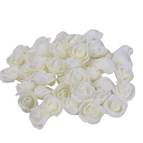 Fake Flower Heads, Mini Artificial Foam Rose Flower Head Fake Flowers Artificial Floral for Vase Filler Wedding Decoration Bridal Shower, 50 PCS -