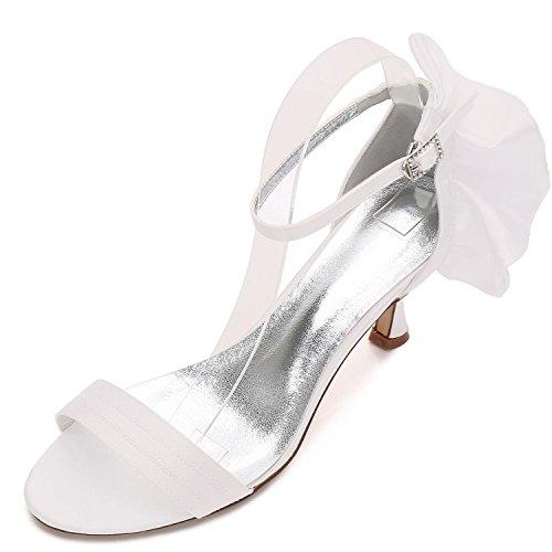 Zapatos Ribbon L 8 Boda Prom Heel Mujeres Office Ivory Las yc Low Bridesmaid 17061 De Summer 5w07r1xq0
