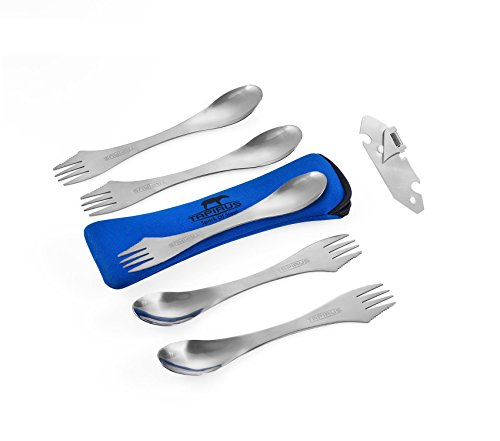 Tapirus 5 Spork Of Steel Utensils Set | Durable & Rust Proof Stainless Steel | Spoon, Fork & Knife Flatware | For Camping, Fishing, Hunting & Outdoor Activities | With - Is Ti Where Now