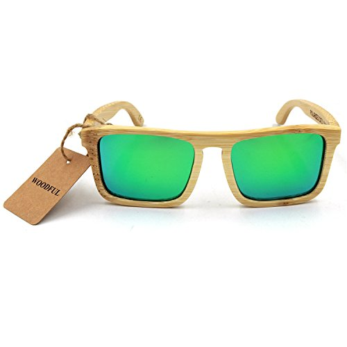 Bamboo Sunglasses - 100% Hand Made Wooden Sun GlassesMen Women Sunglasses - Wood Eyewear (bamboo color green)